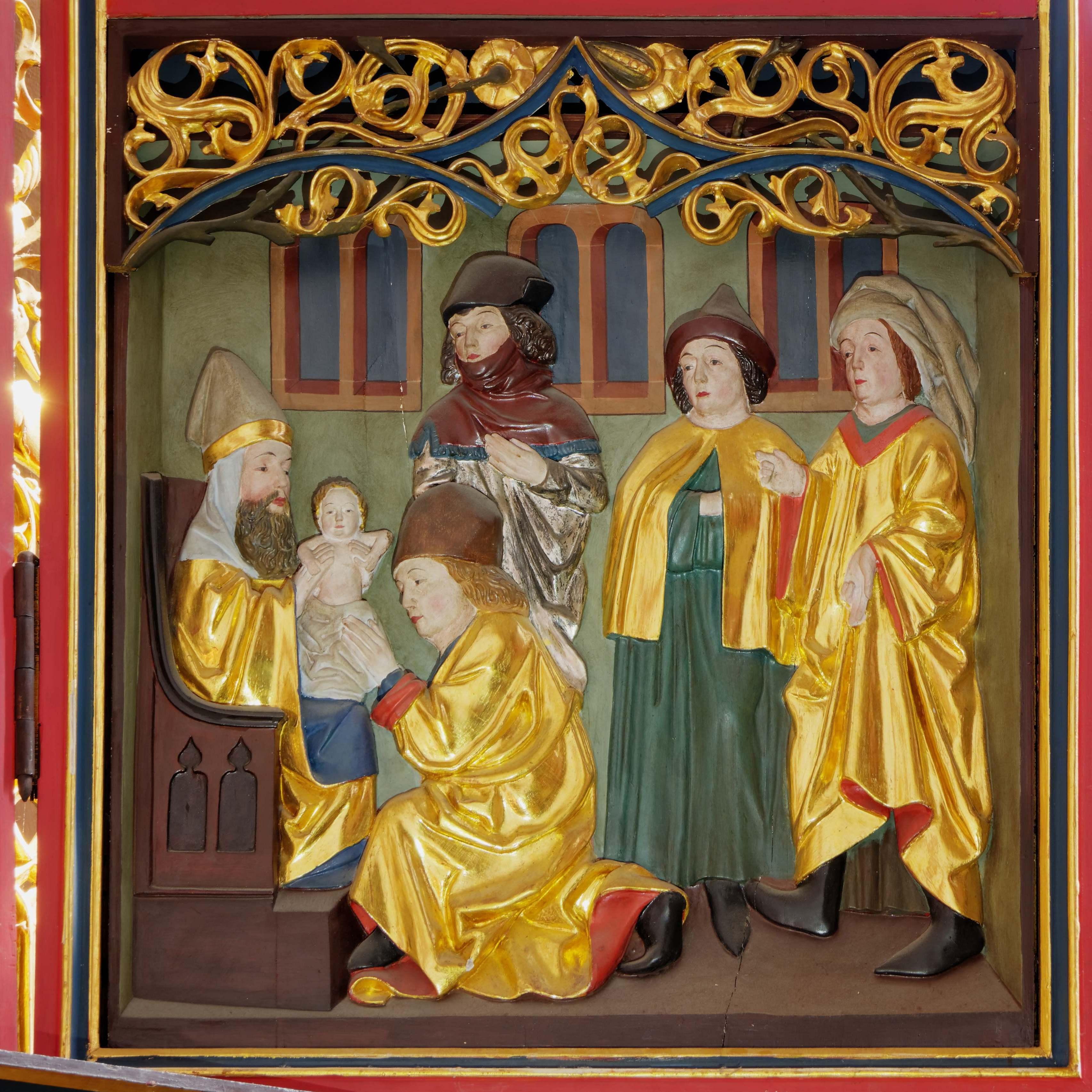 Vorstellung Jesu im Tempel (rechter Flügel, unten)